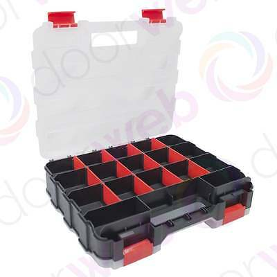 34 Compartment DOUBLE SIDED STORAGE BOX Organiser Case Tools Parts Work Plastic