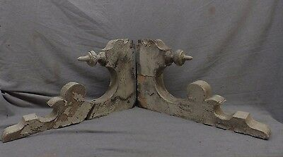 Pair Antique Wood Corbels Victorian Shabby Gingerbread Vtg Chic 23x14 135-17P