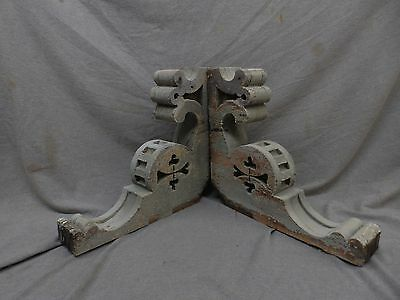 Antique Pair Wood Corbels Shabby Cottage Chic Vintage Rustic Old 17x16 138-17P