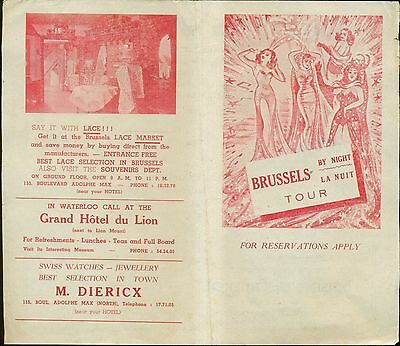 """1950's Brussels(Belgium) by Night """"Risque Girlie"""" Tourist Brochure"""