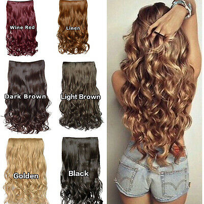 Thick  Human Hair 1Piece Full Head Clip In Hair Extensions Straight Wavy Women's