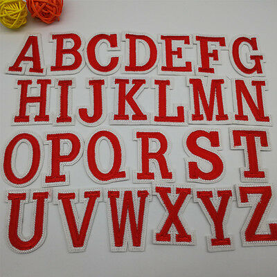 1 x Red Letter A-Z Embroidered Iron On Patch Sew Motif DIY Alphabet Letters