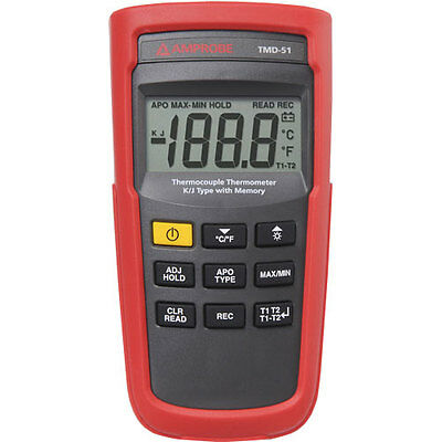 Amprobe TMD-51 K/J Type Thermocouple Thermometer with Memory
