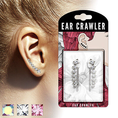 Pair Of Rhodium Plated Brass 7 Round Ascending Crystals Crawler Climber Earrings