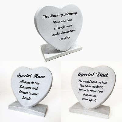 Grave Side Heart Ornament, Engraved Stone Effect Tribute Decoration 20cm Mum Dad