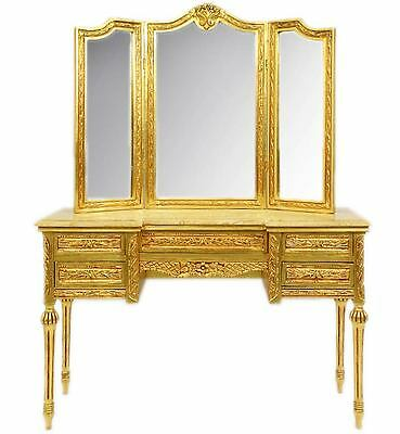 FRISIERTISCH mit SPIEGEL golden DRESSING TABLE, BAROCK POUDREUSE, TOILETTENTISCH