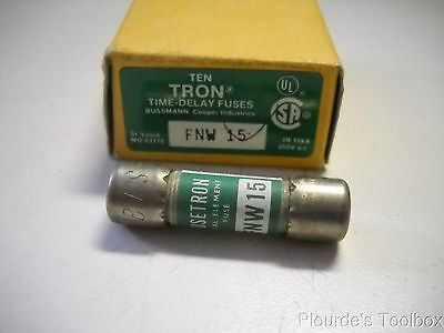 New Bussmann Fusetron 15A Time Delay Fuses, 250V or Less, FNW-15
