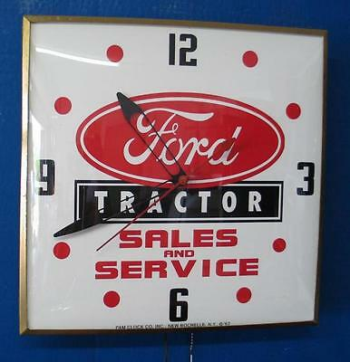 Vintage Pam FORD TRACTOR SALES & SERVICE Lighted Advertizing Clock