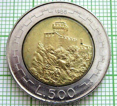 San Marino 1988 500 Lire, Second Tower Castle, Bi-Metallic, Unc