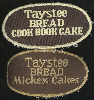 Pair Of Old Used Jacket Patches Advertising Taystee Bread, Mickey Cakes +