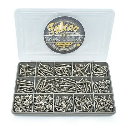 640 PIECE ASSORTED 6g A2 STAINLESS STEEL FLANGE POZI PAN SELF TAPPING SCREWS KIT