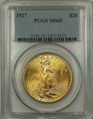 1927 St. Gaudens $20 Double Eagle Gold Coin PCGS MS-65 GEM BU TW