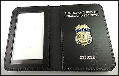 ICE Officer Mini Badge ID Case w/ DHS and Officer Embossing
