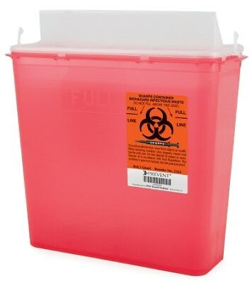 Prevent Sharps Container, 2-Piece, 5 Quart, Horizontal Entry Lid, *BRAND NEW!*