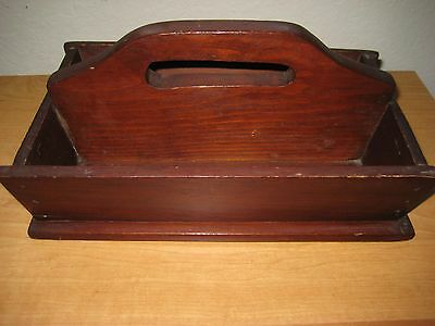Vintage Wood Cutlery / Household Tote Tray