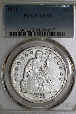 1871 US Seated Silver Dollar PCGS Graded VF30 Original Untoned Coin (84690977)
