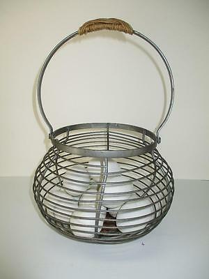 Vtg Style Round Metal Wire With Wicker Handle and Bottom Egg Collecting Basket