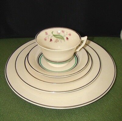 5 Piece Place Setting Syracuse Old Ivory China Coralbel Pattern 1949-1967