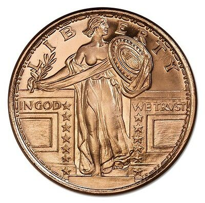 ✯Standing Liberty✯Bu✯1 Oz✯.999 Copper Round✯Old Usa Coin Design✯Free Shipping✯