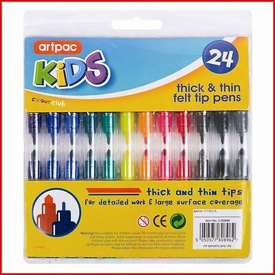 24 Assorted Colour Thick & Thin Fibre Colouring Pens Felt Tips Markers