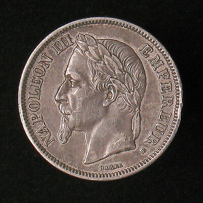 1866-BB France 2 Francs silver coin KM# 807.2 high grade