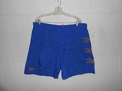 Vintage 80s 90s Reebok Lined Nylon Running Blue Yellow Shorts Sz L