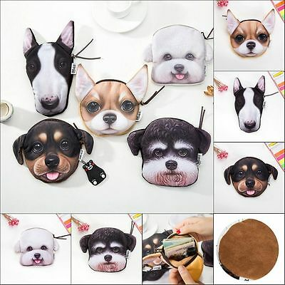 Fashion 3D Animals Cat Dog Face Zipper Case Coin Card Purse Wallet Pouch Bag Y26