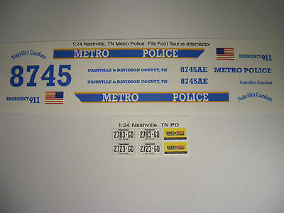 Nashville, TN Metro Police 1/24 Waterslide Decals 1:24 Fits Ford Taurus