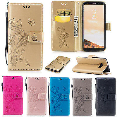 For Samsung Luxury PU Leather Magnetic Flip Stand Cards Slot Wallet Case Cover