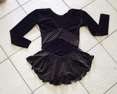NEW Girls BLACK VELVET Glittery GOLD DOTS Competition FIGURE ICE SKATING Dress