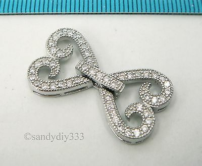 1x Rhodium plated STERLING SILVER CZ BEADING THREAD CORD CONNECTOR CLASP #2546