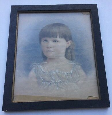 Colonial Pastel Portrait of a Young Girl Circa 1830s