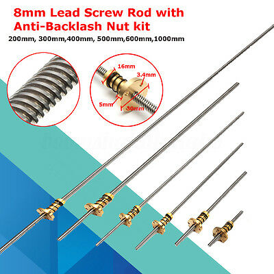 200-1000mm T8 8mm Lead Screw 4 Start Trapezoidal Acme Rod + Anti-Backlash Nut
