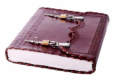 Vintage Look Handmade Leather Journal lock Diary Travel Planner Notebook 10x7
