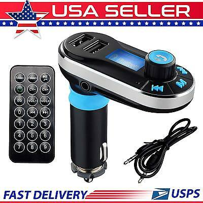 Dual USB Bluetooth Wireless Car LCD FM Transmitter Radio MP3 Player Charger Kit
