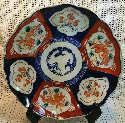 Antique 18th 19th C. Hand Painted Blue Underglazed Japanese Imari Plate Charger