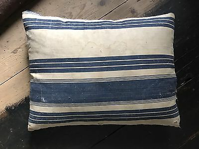 Antique French Blue Off White Stripe Ticking Cushion With Repair Wear c1890s