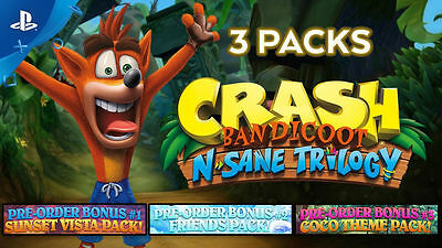 Crash Bandicoot N-Sane Trilogy 3 Theme Packs Avatars Coco Friends Sunset PS4 DLC