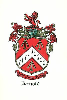 Great Coat of Arms Arnold Family Crest genealogy, would look great framed!