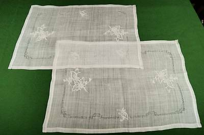 Pair Of Vintage Pina Linen Whitework Embroidered Traycloths