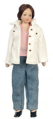 Dollhouse Miniature Doll Mother Mom Denim Outfit Modern Porcelain  1:12 Scale