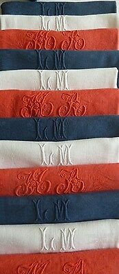 Antique French Linen 12 Napkins Patriotic Color Bon Appetit Baby : Monogram