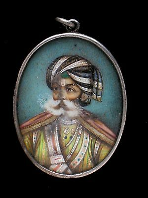 Miniature Portrait Mughal India Man in Turban Fine Painting 800 Silver Pendant