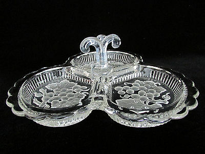 Tray Elegant Depression Glass Crystal Grapes Scalloped Candy Nuts Pickles Olive