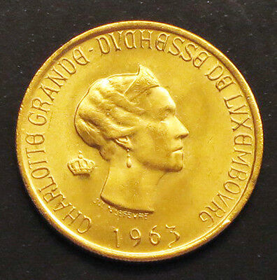 """1963 Luxembourg 20-Francs Gold Coin. """"BU"""" -  KM#: E64"""