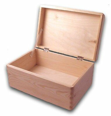 Wooden Tool Box DIY Unpainted Chest Storage Natural Wood Toolbox Trunk Basement