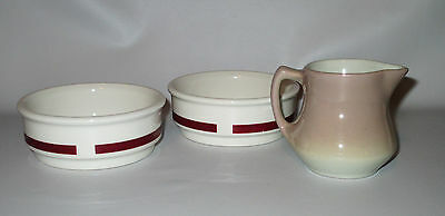 Shenango China 2 Fruit Bowls + Creamer Red Band A-20 Brown Restaurant Ware USA