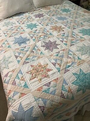"Vintage Arch QUILT 8 Point Star Patchwork 81"" x 82"""