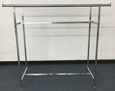 """USED EUC Commercial Grade Clothing Double Bar H Rack Adjustable 48""""-72"""" CHROME"""