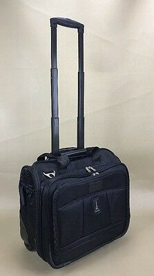 "Travelpro Crew Black 16"" Rolling Tote Overnighter Carry On Bag Luggage"